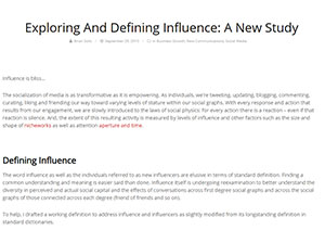 Exploring And Defining Influence: A New Study