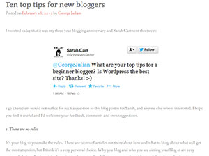 George Julian's top ten tips for new bloggers