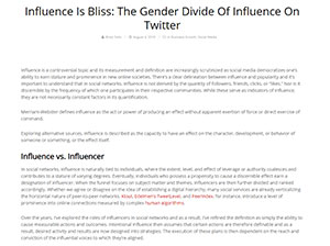Influence Is Bliss: The Gender Divide Of Influence On Twitter