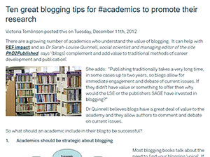 Ten tips for blogging for academics
